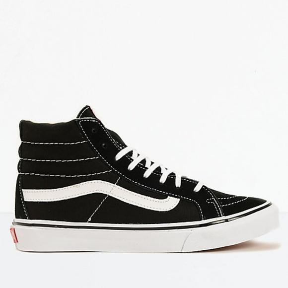 8f20ca6e28 Vans Sk8-Hi Slim Black   True White Shoes. M 5b9bf86cc617776b58b7e176